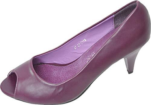 Damen Schuhe Classic Retro Plum Pumps Lila Peep-Toe 38