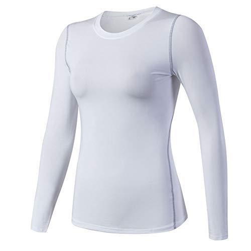 Damen Langarm Funktionsshirt Funktionswäsche Thermoaktiv Atmungsaktiv Sports Workout Base Layer Kompressionsshirt Weiß M