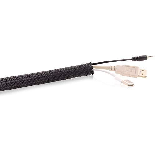 Spitzenspannung Elektrotechnik JSGF37320 - Calza trecciata con chiusura a velcro, 17-20 mm, lunghezza 5 m, colore: nero