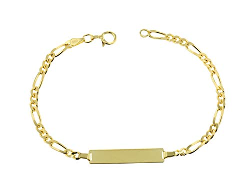 JC Trauringe 585 Gold Baby ID-Armband Kinder Damen Goldarmband 16 cm I Figaro Armband mit Gravur Taufarmband Gold Namensarmband I Babyarmband mit Namen I Kinderschmuck made in Germany I 5.53062
