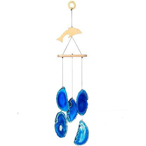 ACBungji Windspiel aus Blau natürlicher Achat Delphin zum Aufhängen Kristall Heilung Windfänger Glücksbringer Dekoration für Zuhause, Wohnzimmer, Terrasse, Auto