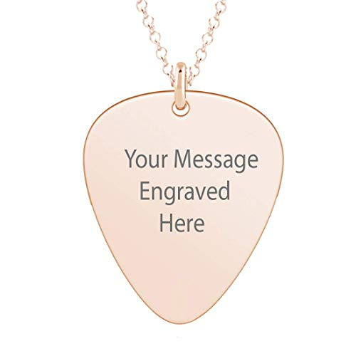 Personalised Guitar Pick Plectrum Pendant Silver Rose Gold Plated Name Necklace Jewellery Gift (Rose Gold)