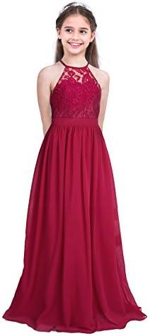 ranrann Kids Halter Neck Lace Chiffon Flower Girl Dress Wedding Bridesmaid Ball Gown Princess product image