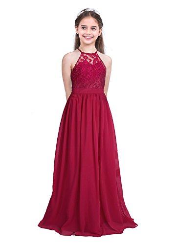 IEFIEL Vestido Largo de Fiesta Boda Para Niña Vestido Princesa de Dama de Honor Vestido Elegante Cuello Halter Vestido Sin Manga de Ceremonia Gala Vino A 14 años