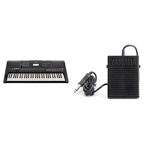 Yamaha PSR-E463 61-Key Portable Keyboard & Yamaha FC5 Compact Sustain Pedal for Portable Keyboards, black