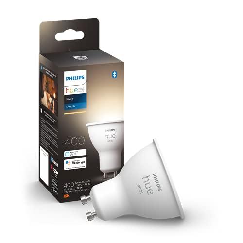 Philips Hue White GU10 LED Lampe Einzelpack, dimmbar, warmweißes Licht, steuerbar via App, kompatibel mit Amazon Alexa (Echo, Echo Dot)
