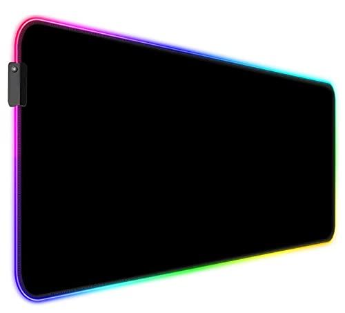 AILRINNI RGB Tappetino Mouse Gaming - XXL Tappetino per Mouse LED Grande 800x300mm, 12 RGB Effetti Luce Mouse Pad Ergonomicoda Gioco Base di Gomma per Tastiera, Laptop - Nero