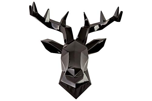 Hansmeier Testa di Cervo Scultura Parete - Nero - 42 x 41 cm - Decorazione da Parete Moderno - Materiale Robusto - Prezioso, Elegante, Astratto (Nero)