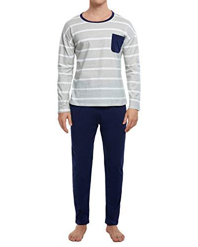 GOSO Pijama para Hombre Conjunto de algodón Ropa de Dormir Manga Larga Top con Pantalones Largos...