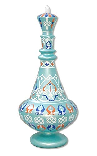 LJ538 I Dream Of Jeannie Genie Hand Painted Mouth-Blown Glass Aqua Blue Bottle