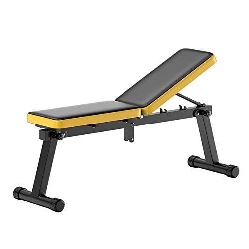 ZSCKJ Banco de pesas multifunción plegable, banco de entrenamiento ajustable para entrenamiento en casa, puede soportar un peso de 150 kg (amarillo).