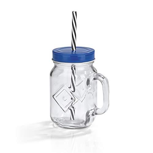 Hamburger SV Trinkglas mit eingestanztem HSV Logo und Strohhalm   Das Muss für jeden echten Fan   to GO, im Stadion, zur Gartenparty oder auf der nächsten Vatertagstour   450 ml [blau]