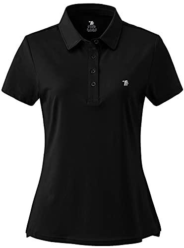 JINSHI Donna Polo da Lavoro a Maniche Corte Shirt Sportivo Golf Tennis Top Nero L
