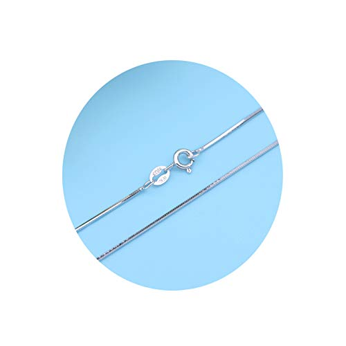 Epinki Plata de Ley 925 0.8MM Cadena Collar para Mujer Plata Serpiente Cadena Punk Cadena Collar Largoitud 40CM