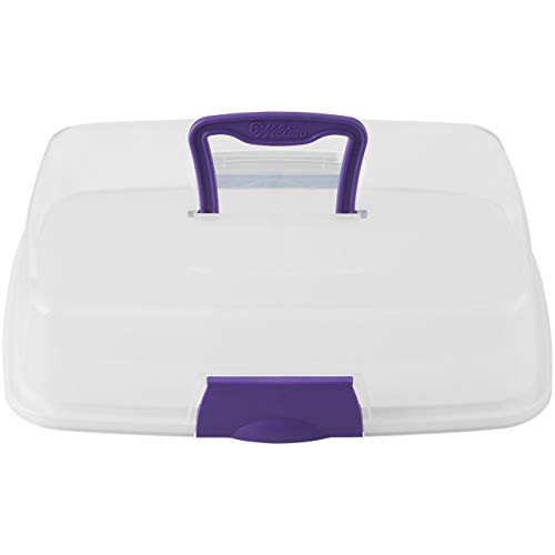 Wilton 2105-3281 Portable Cupcake or Tray Bake Carrier with Reversible Insert, Rectangle, Plastic, Transparent, 22.8 x 33cm (9 x 13in),...