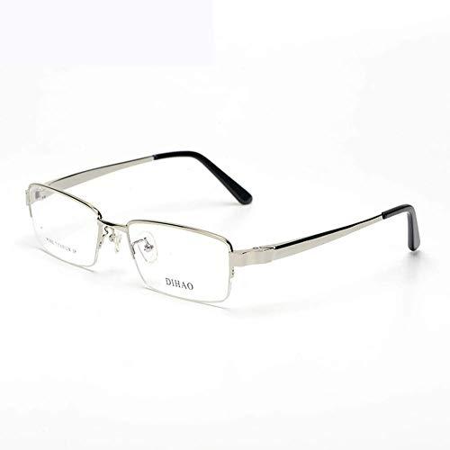 MKKSLR Anti-Blau-Computerbrille aus reinem Titan, hochwertige ultraleichte Herren-Halbrahmenbrille, ultraleichte Lesegeräte aus reinem Titanrahmen Anti-Augenermüdung Leichtgewicht
