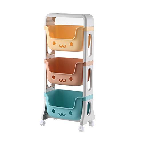 RMAN® Kinderregal mit Rollen 39.5x25x95cm Spielzeug-Organizer Kinder Aufbewahrungsregal Kinderzimmerregal Spielzeugregal 3 Aufbewahrungsboxen für Schlafzimmer Küche Büro