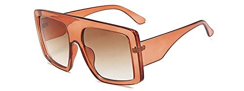 Gosunfly Moda europea y americana caja grande gafas de sol cuadradas para mujer gafas de sol de tendencia de personalidad vintage-Cadena de pie de metal_Té transparente