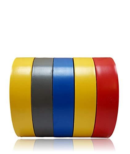 5 x Isolierband farbig Set | 20m x 17mm | Isolierbänder | 5 Rollen Elektro Klebeband | Isoband Elektriker | Dicke 0,18mm | Dichtungsband mit hoher Flexibilität und Klebekraft | Reparaturklebeband