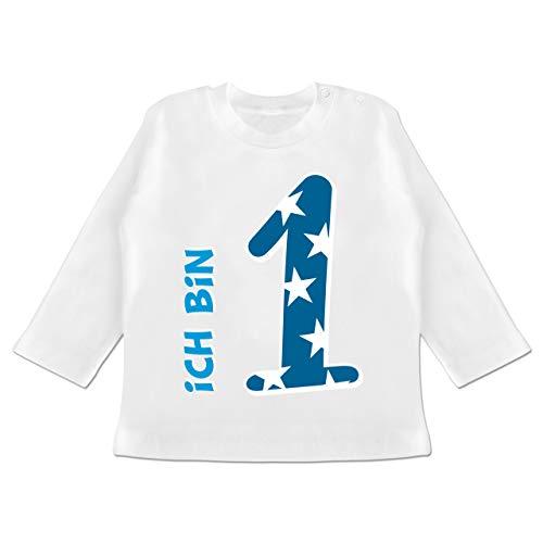 Geburtstag Baby - Ich Bin 1 Blau Junge Erster - 12/18 Monate - Weiß - Langarm Shirt Junge Geburtstag - BZ11 - Baby T-Shirt Langarm