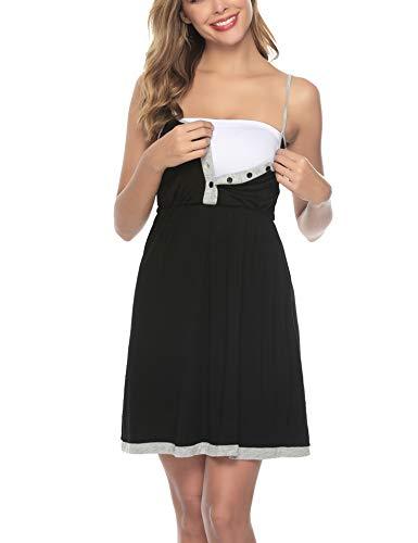Sykooria Umstandskleid Baumwolle Umstandsmode Umstands Nachthemd, Stillnachthemd Damen Stillkleid mit Knopfleiste, Perfekt für Schwangere und Stillzeit