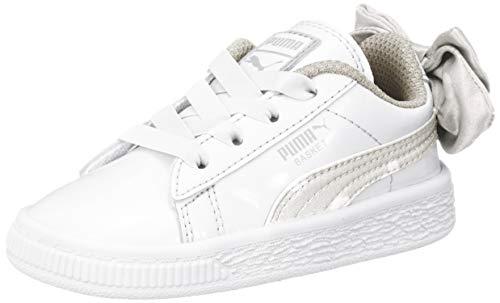 Puma Basket Bow Dots AC Inf, Scarpe da Ginnastica Basse Bimba, Bianco White-Silver Gray 3, 25 EU