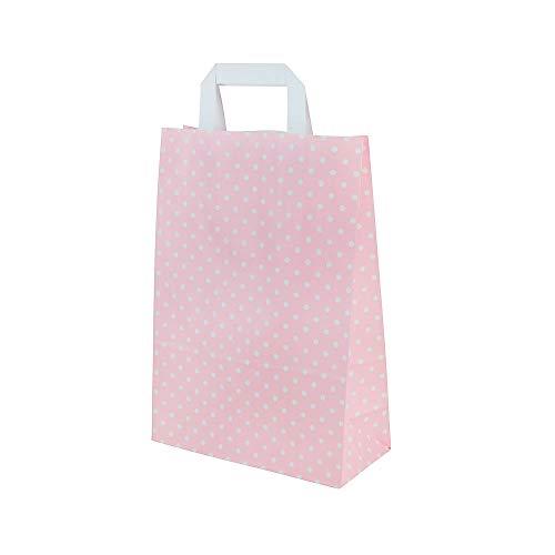 BIOZOYG Papiertragetaschen mit Flachhenkel 80g 22+10x31cm I Feste Papier Tüten Kraftpapier I Geschenktüten Give Aways Party Tüten I Papierbeutel Blockboden 25 Papiertaschen rosé/weiße Punkte