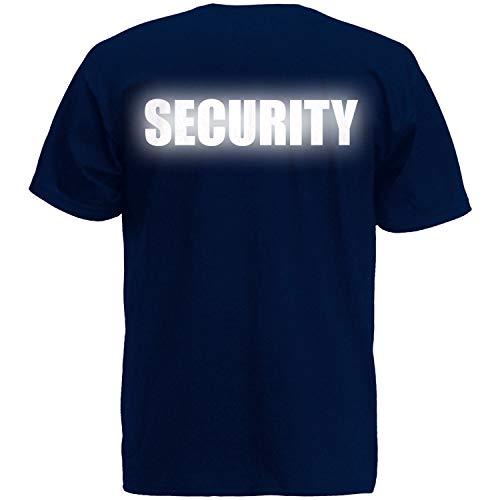 Shirt-Panda Herren T-Shirt · Security · Unisex Brust & Rücken Shirt für Sicherheitsdienst · 100{74c95ad24bec72ac0f67aace4ceb479d73799cb033c2068ab1c6bc27ebb563a1} Baumwolle · hochwertiger Textildruck · Dunkelblau (Druck Reflektierend) XL