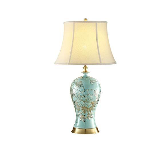 Raxinbang Lámparas de Mesa Lámpara de Mesa de Porcelana Cama de Dormitorio Faros Que se sientan en la habitación Tirar del Interruptor Sombra Melón Cerámica Decorativa
