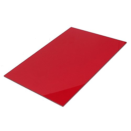 XMRISE Clear Cast Acrylic Sheet Board Plexi Glass Panel Plastic DIY Display Industrial Crafts Easy to Cut Bend Red Translucent,7.86'x15.7'x0.12'