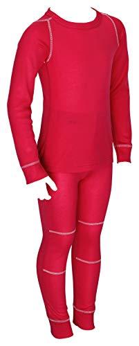icefeld® - Set di biancheria intima termica traspirante per bambini – biancheria calda in maglia a maniche lunghe + mutande lunghe (ÖkoTex100) Colore: rosso 122 cm-128 cm