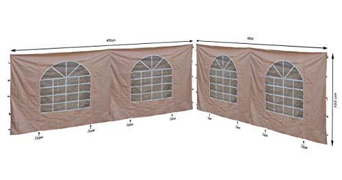 QUICK STAR 2 Seitenteile mit PVC Fenster für Lounge Pavillon Sahara 4x4m Seitenwand Sand