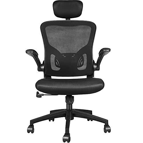 Naspaluro Ergonomics Office Chair, Computer Desk Chair with Lumbar Support, Soft Sponge Cushion, Adjustable Headrest and Flip-up 3D Arms, Reclining Breathable High Back Rolling Swivel Mesh Task Chair