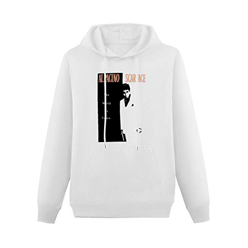 Teenager Pullover Hoody Al Pacino The World is Yours Long Sleeve Sweatshirts L-White