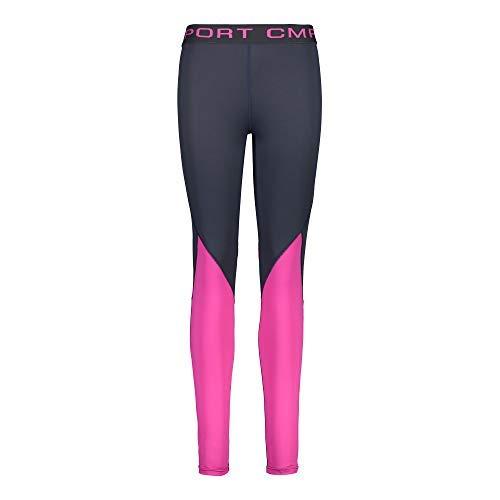 CMP Short de Course Pantalon à Courir Femme Long Pantalon Gris Respirant Élastique - Gris foncé, 38
