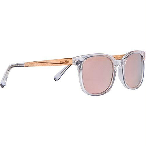 Woodies Clear Acetate Sunglasses with Polarized Blue Lens in Wood Display Box (Pink)
