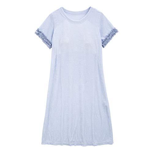 (キッドブルー)KID BLUE 20ガーゼパイル無地 カップ付き ワンピース 半袖 パジャマ ルームウェア(SX-サック