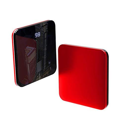 ポータブル充電器8000mAh、超薄型で安全な高速移動電源、LCDディスプレイ、強力なUSB出力モバイル電源、旅行に最適、赤