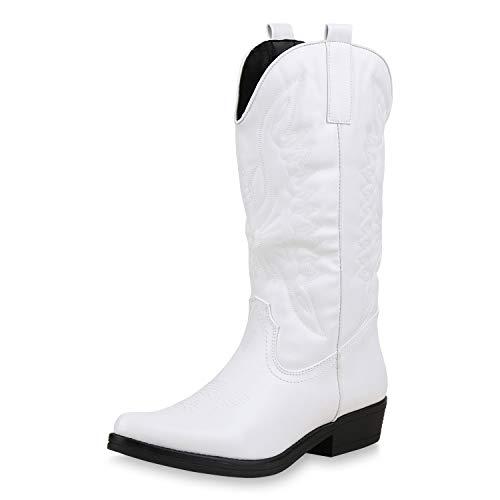 SCARPE VITA Damen Cowboystiefel Stickereien Western Stiefel Cowboy Boots 173421 Weiss 36