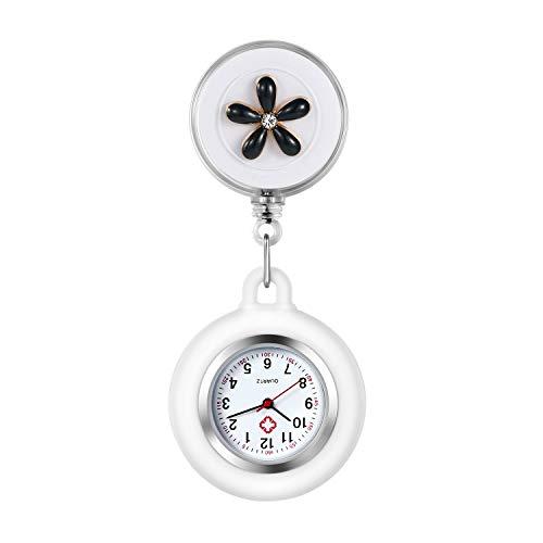 Reloj de Enfermera Silicona, con Broche de Floral Flores, analógicos de Cuarzo, con Broche de Bolsillo, Redondos, con Clip,Regalo de San Valentín