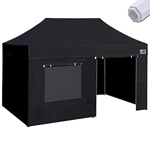 Eurmax Premium 10 x 20 Ez Pop up Canopy Instant Canopies Commercial Grade Outdoor Canopy Package Deal Party Tent Wedding Gazebo Quick shelter with 4 Sidewalls Bonus Roller Bag (Black)