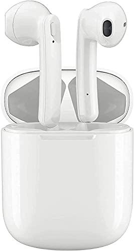Cuffie Bluetooth,Auricolare Wireless in-Ear, Cuffie Stereo 3D Sportive, con Scatola di Ricarica 24 Ore e Associazione Automatica del Microfono Integrato per Samsung Huawei iPhone Android (bianca)