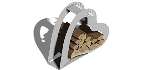 ARTTEC Design Holzsammler /-Korb (Herz) Kaminholzregal Feuerholzständer aus Edelstahl als nützliche Deko für Grill, Kamin und Feuerstelle