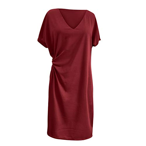 Yowablo Kleid Frauen Mode cool einfarbig lässig Formol Party Kurzarm Elegantes Kleid (L,2rot)