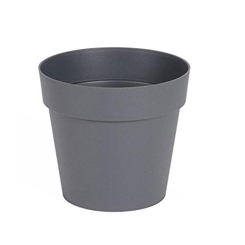 EDA Plastiques - Pot de Fleur - Pot de Fleur Toscane Ø 15 x 13,6 cm Rond - 1,6L Gris Anthracite