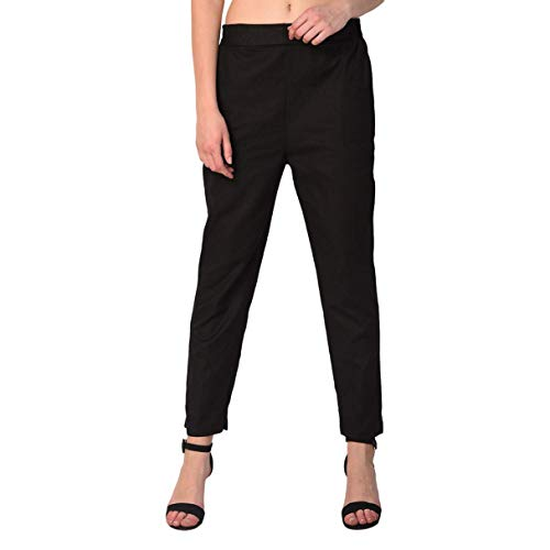 Dream Angel Fashion Women's Regular Fit Comfortable Casual Ethnic Flerd Skirt & Plain Palazzo (28, Black)