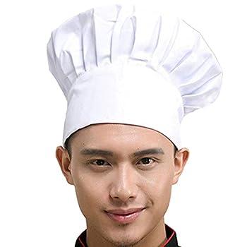 Hyzrz Chef Hat Adult Adjustable Elastic Baker Kitchen Cooking Chef Cap  White