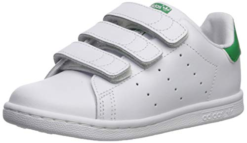 adidas Originals Baby Stan Smith Cloudfoam Sneaker, Footwear White/Footwear White/Green, 9.5K