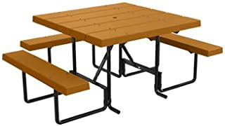 Kirby Built Products 4' Square BarcoBoard Plastic Wheelchair Accessible Picnic Table - Cedar