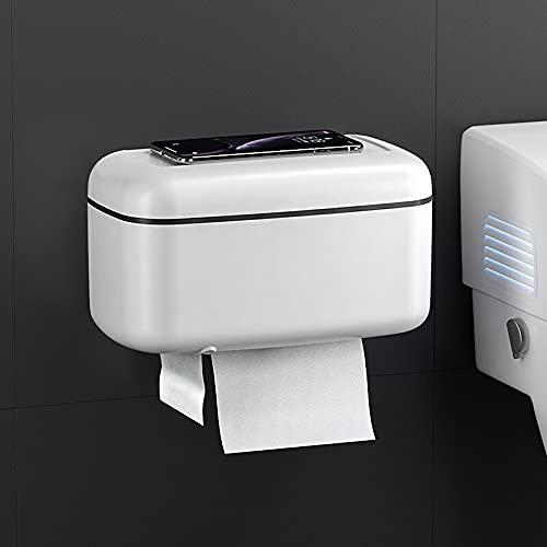 Sxcespp Cajón de Inodoro para el hogar Colgante de Pared Rollo de Almacenamiento Autoadhesivo Estante de baño Multifuncional a Prueba de Agua Bolsa de Basura Gran Capacidad Toallero de Papel de Doble